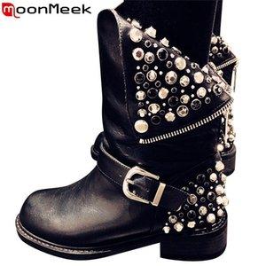 MoonMeek 2020 nuevas botas de cuero genuino mujeres con cremallera remaches del punk otoño invierno botas de damas moto