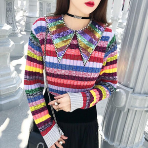 2020 Rainbow Sequins Neck Women Sweater Pullovers Runway Striped Female Christmas Sweaters Jumper Clothes w393