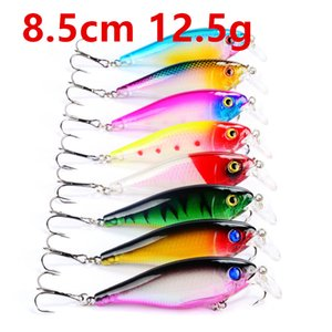 8-Color 8.5cm 12.5g Crank Fishing Hooks 6# Hook Plastic Hard Baits & Lures Pesca Fishing Tackle Accessories LY-30