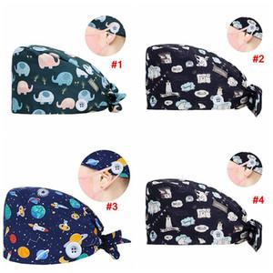 Cotton Beanie Hut Karikatur gedruckt Scrub Cap Adjustable mit Knopf für Gesichtsmaske Haken Schnalle Frauen Küche Partei Hut LJJA4121