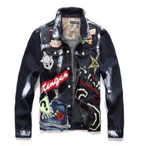 Giacca di jeans Mens Graffiti Hip Solid casuali dimagriscono Bomber Autunno Inverno Jean Giubbotti da uomo di Uomini Hop Cowboy Giacche