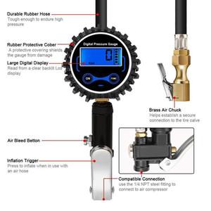 Hot insuflação 1 Set Digital pneu com medidor de pressão de 200 PSI Air Chuck Kit BX
