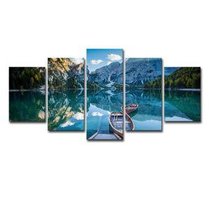 (Apenas Lona Sem Moldura) 5 Pcs Snow Mountain Boat Clear Lake Paisagem Da Arte Da Parede HD Impressão Pintura Da Lona Moda Pendurado Fotos