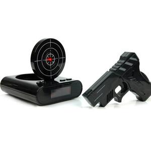 1 مجموعة بندقية ساعة منبه تبادل لاطلاق النار المنبه للتسجيل أداة الهدف سطح المكتب الرقمي السرير غفوة الجدول إنذار الساعات هدية الإبداعية