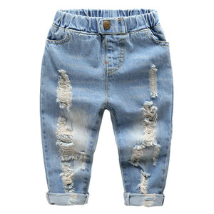 Kids Straight Leg Jeans Little Baby Boys Girl Fashion Ripped Western Jeans Denim Pants Ripped Holes Jeans Trousers