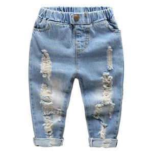 Niños jeans de pierna recta little baby boys niña moda rasgada jeans occidental pantalones denim pantalones rasgados agujeros pantalones vaqueros pantalones