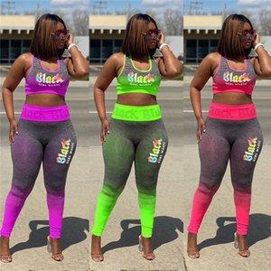 Progettazione Tuta senza maniche Crop di colore gradiente parti superiori delle donne Bra + Pants Legging insiemi delle signore di estate Trendy Jogger Suit Yoga 3XL D52210WF