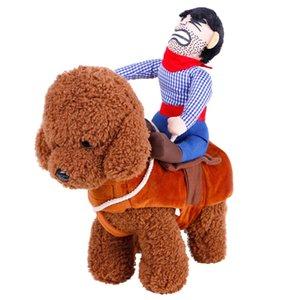 2018 fantasia de cachorro Equitação com chapéu de vaqueiro para cão pequeno grande cão de estimação gato engraçado golden retriever Halloween Party custume