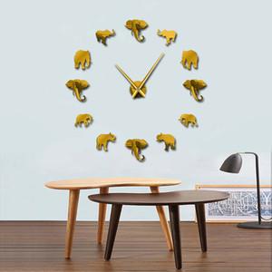 Yeni Tasarım 37 inç Orman Hayvanlar Fil DIY Büyük Duvar Saati Ev Dekorasyonu Ayna Etkisi Dev Çerçevesiz Filler DIY Saat İzle