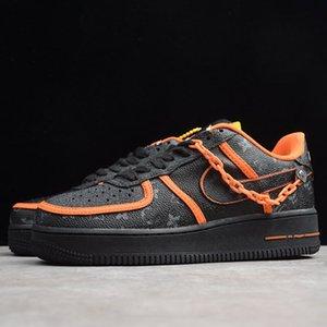 Nike Air Force1 AF1 LV 2020 mais recente ocasional TENIS Time Low Fora Air One Utility Laranja Homens Preto Running Shoes sapatos Forças sapatilhas 1s Sports Skate