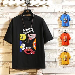 Algodón 2020 ropa de verano TOP TEES historieta de la manera de Corea de manga corta Negro Red O CUELLO camiseta de los hombres camiseta oversize Plus M-5X