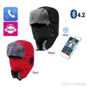 chapeau d'hiver sans fil Bluetooth Épaissir chaud en fausse fourrure Skullies écharpe Bonnet Bonnet Bonnet Casque intelligent Cap extérieur doux Cap