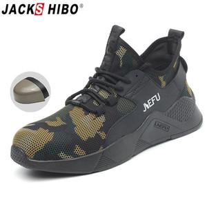 Обувь JACKSHIBO Лета дышащей безопасности для мужчин Anti-разбив Спецобувь Строительство Безопасность Boots Мужчина пункция