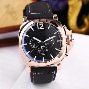 Diseñador 3 zonas horarias Relojes para hombres Mecánico Movimiento automático Reloj de lujo con esfera múltiple Caja de acero Correa de cuero Relojes de pulsera Montre