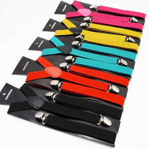 2,5 centímetros Unisex Suspender Belt Vintage Homens Suspender shirt Fique Moda Sólidos Casual Cor Suspensórios 3 Clips britânica Estilo Acessórios M1350
