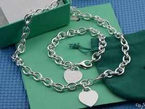 2019 дешевые серебряные толстые цепочки серебряные в форме сердца кулон ожерелья и браслет высокого качества женщины очаровательные ожерелья браслет костюм