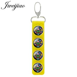 Polish Folk Art Flower Geometry Picture Snap Button Keychain Leather Charm Round Glass Cabochon Pendant Keyring PF143