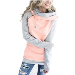 Hoodies Lossky Moletons Mulheres Pulôver Com Capuz Feminino Patchwork Moletom Outono Casaco Quente Plus Size