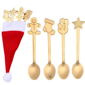 4PCS Stainless Steel colorful Christmas Coffee Spoon Handle Spoons Flatware Ice Cream Drinking Tools Christmas Hat Cutlery L*5