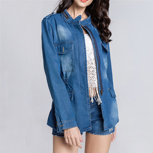 Men's Jackets Denim Feminine Women's Pure Color Wash The Old Zipper Loose Size Jeans Jacket Tops Turn-down Collar Jean Autumn Coat