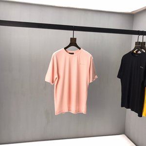 Balenciaga T-shirt Au début du printemps 2020 nouveau logo lettre color block à manches courtes en coton Tee fine double brin noir et blanc xshfbcl C03