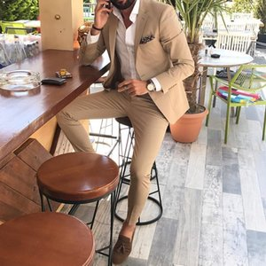 2019 sposa modesto smoking Slim Fit Groom Suits laterale Vent Realizzato Groomsmen partito promenade (Jacket + Pants +) Groom Padre Suit
