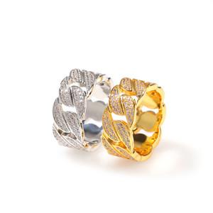 Cuero de lujo de la joyería de Hip Hop heló hacia fuera Cuban Link Cadena anillos de plata plateado oro del anillo de bodas de diamante