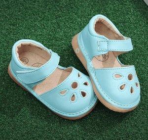 여름 더운 PU 가죽 샌들 중공 아웃 샌들 아기 아이 고체 신발 고무 유일한 재미 아기 삐걱 거리는 신발 야외