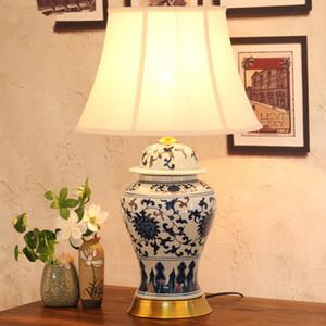 Schlafzimmer Jahrgang Tischlampe China Wohnzimmer Tischlampe für Hochzeitsdekoration Keramik-Kunst chinesische Porzellantischlampe