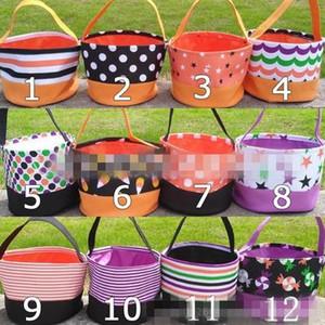Halloween Bucket Trick or Treat Balde de alta qualidade Balde Dia das Bruxas Sacola para crianças presentes Canvas cesta de doces EEA534