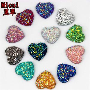 200pcs 12mm Glitter AB Renkli Kalp Reçine Rhinestone Cabochon Düz Geri Kristal Taş Sigara Düzeltme için DIY Dekorasyon ZZ50 Applique