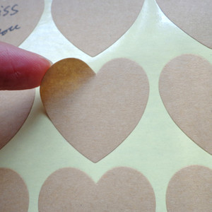 Free Shipping 500Pcs Lot 3.5*3.6cm Blank Kraft Heart Design Sticker Label Party Gift Seal Stickers Handmade Product Wedding Seal