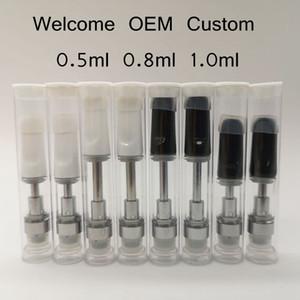 0.8ml 1,0 ml 0,5 ml Ceramic 510 filetto vuoto Vape Penne TH205 vaporizzatore Pen cartucce tubo in PVC Imballaggio bianco nero Vape Carrelli