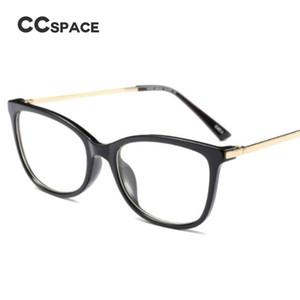 CCSPACE Plaza Damas marcos de los vidrios del metal Templos Hombres Mujeres lentes ópticas Gafas graduadas Gafas de ordenador 45365