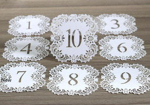 Hollow Laser Cut Seating Cards NO.1-20 Beautiful Lace Seat Card Digital Card for Romantic Wedding Party Event Supplies HHA427
