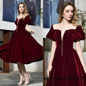Borgonha Prom Vestidos longos 2020 Vestidos Vestidos De Festa De Noche Em Tecido de veludo Vestidos de convidado Stock cps1464