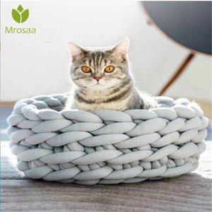 A maglia dell'animale domestico del gatto del cane del cucciolo Bed Camera del cuscino caldo molle Dog House Mat Mini cucciolo Letti per cani comodo nido della fossa di scolo Pet Supplies SH190926