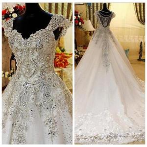 실제 사진 얇은 명주 그물 A 라인 웨딩 드레스 V 넥 블링 구슬 저렴한 빈티지 웨딩 드레스 신부 가운 다 SPOSA abito 2019 나이지리아