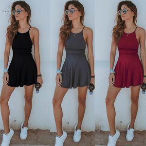 Frauen-Kleid-Sommer-beiläufige Sleeveless festen Female-Strand-Kleid-reizvolle Dame Short Minikleid Mode Damenmode Sundress