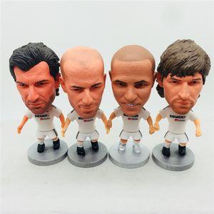 Soccerwe 2.55 polegadas de Futebol Star Classic Raul Figo Beckham Roanldo Casillas Zidane Carlos figuras brancas Kit grandes coleções Toy presente