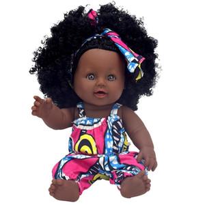 Africain Noir Bébé Poupée Reborn Fille 12 pouces Jaune Boneca Corpo Inteiro De Silicone Bébé Reborn Poupées Pop Lifelike Enfants MX190801
