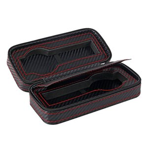 2 Slots Carbon Fibre Watch Box Bag Display Zipper Case Display Storage Portable Travel Holder Case Portable Leather Organizer