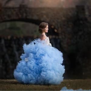 Роскошные Sky СИНИЙ бальное платье девушки цветка платья Vintage кружева аппликация девушки Формальное партии День рождения Pageant платье свадебные платья