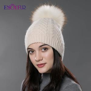 ENJOYFUR Winterpelzhutportrait Pompon Hut für Frauen Kaschmirwolle Baumwolle Hut Big wirkliche Waschbär-Pelz Bommel Mützen Mütze Fox Pelz Bommelmütze Y200103