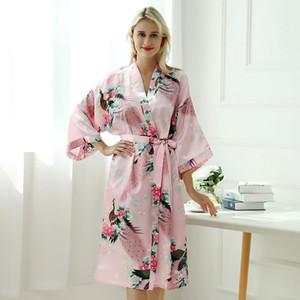 Padrão de impressão soltas Robes Moda manga comprida animal Belt Mulheres Moda Início Casual Pijamas das senhoras da flor