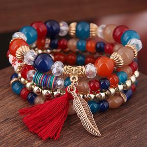 2019 Bohême 4pcs / Set Wing Charm Pendentif Perles Bracelets pour femmes Crystal Stone Multilayer Femmes Bracelet Sets Bijoux