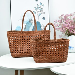 Big Bag100% Genuine Leather Hollowed Woven Shoulder Bag with Casual Woven Inside Bag Vintage Shopping Cowhide Tote