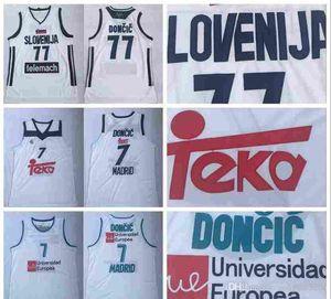 Real Madrid Luka 77 Doncic maglie Uniforme di basket 7 Team Club MVP Eurolega Spagna Europa Slovenija Colore Bianco Men ha cucito Buono