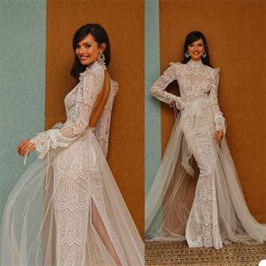 Sexy High-slit Backless berta Mermaid Wedding Dresses Applique Lace Bow Beach Bridal Gown High-neck Long Sleeve Sweep Train Bridal Dress