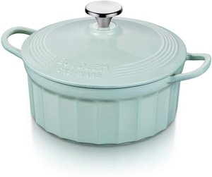Buydeem CP521 Enameled Cast Iron Dutch Oven with Stylish Cupcake Design, Enameled Dutch Oven, French Oven for Cooking and Serving